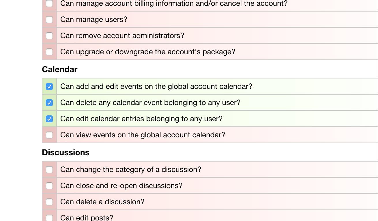 Role Management - Editing Calendar Permissions