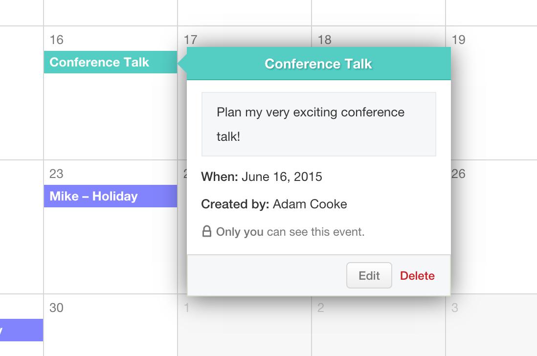 Calendar Event Popup