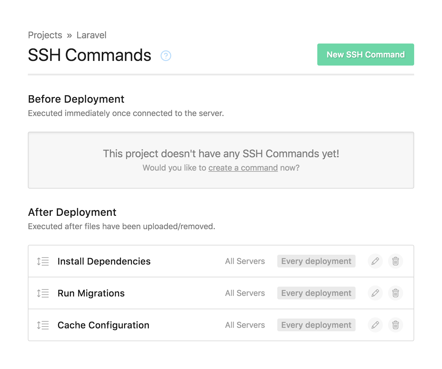 The SSH commands page