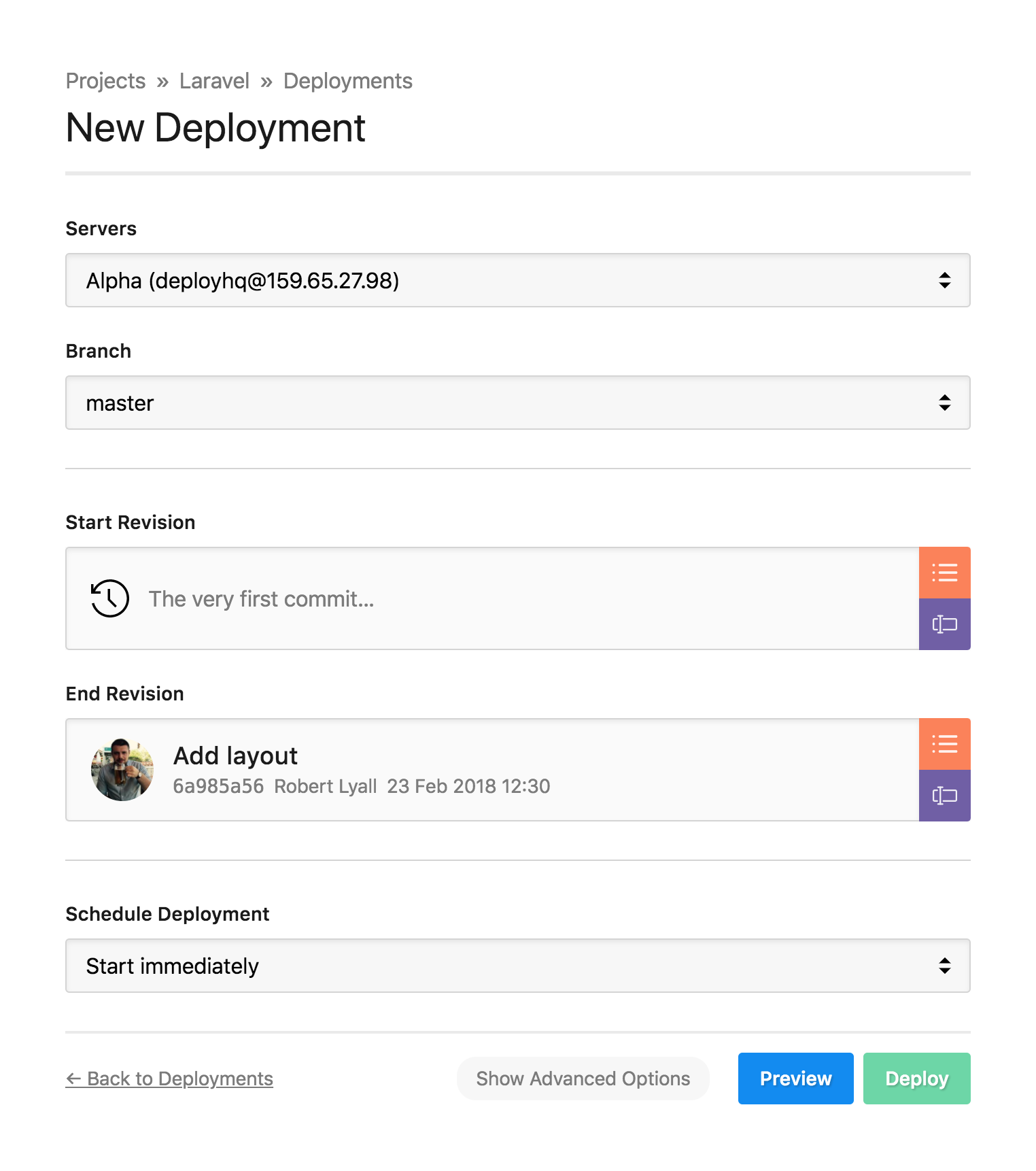 The deployment page